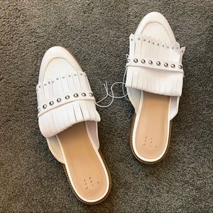 A New Day | NWOT White Studded Fringe Loafers